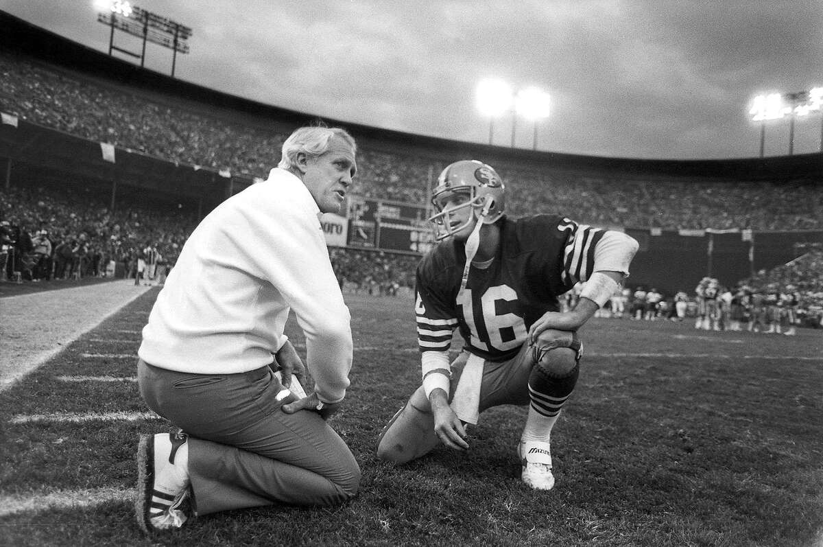 The 49ers' Joe Montana, conferring with coach Bill Walsh during the 1984 NFC Championship Game at Candlestick Park, isn't shy when it comes to naming the best quarterback of all time.