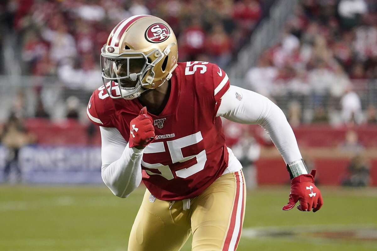San Francisco 49ers defensive end Dee Ford (55) in action during the first half of the NFL NFC Championship football game against the Green Bay Packers Sunday, Jan. 19, 2020, in Santa Clara, Calif. (AP Photo/Tony Avelar)