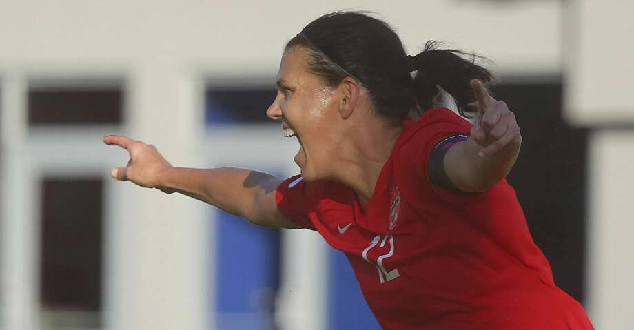 Canada's Christine Sinclair celebrates after scoring against St. Kitts and Nevis in a CONCACAF Olympic qualifying match Wednesday, Jan. 29, 2020, in Edinburg, Texas. Sinclair broke Abby Wambach's record of 184 goals. (Joel Martinez/The Monitor via AP) Photo: JOEL MARTINEZ/Associated Press