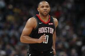 Houston Rockets guard Eric Gordon (10) in the first half of an NBA basketball game Sunday, Jan. 26, 2020, in Denver. (AP Photo/David Zalubowski)