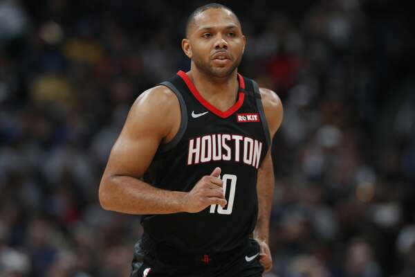 Houston Rockets guard Eric Gordon (10) in the first half of an NBA basketball game Sunday, Jan. 26, 2020, in Denver. (AP Photo/David Zalubowski)