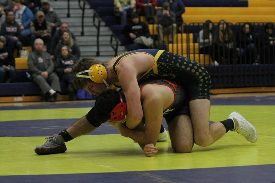The Manistee wrestling team split its pair of matches at its home finale Wednesday night. Photo: Dylan Savela/News Advocate