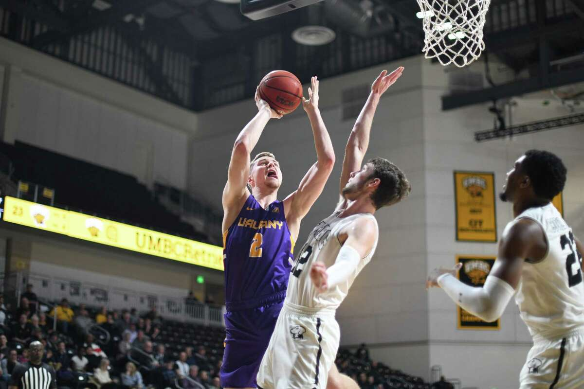 UAlbany's Trey Hutcheson puts up a shot against UMBC during their America East game on Wednesday, Jan. 29, 2020. (Gail Burton / Special to the Times Union)