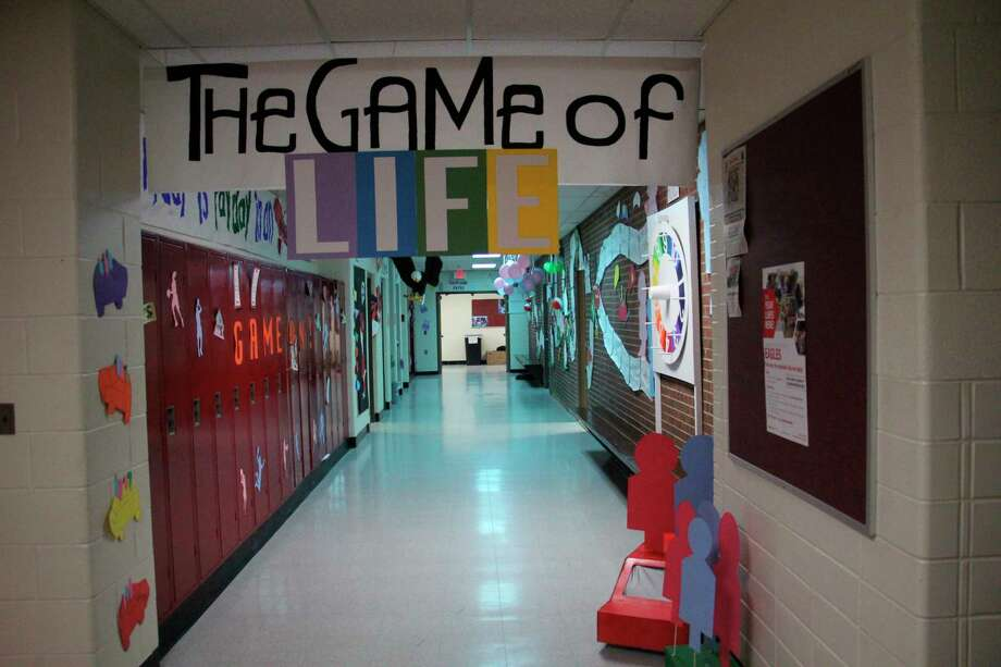 Caseville's sophomore class decorates its hall according to the spirit week theme of The Game of Life. (Sara Eisinger/Huron Daily Tribune)
