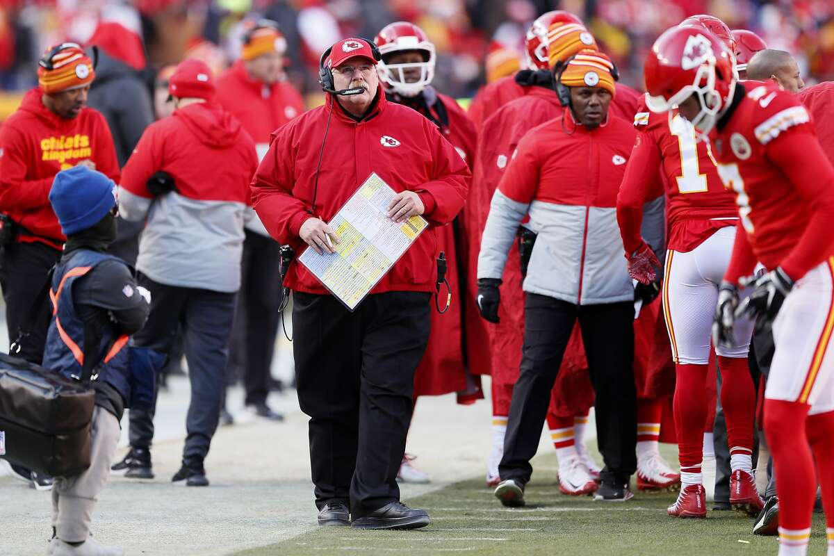Kansas City Chiefs head coach Andy Reid during the first half of the NFL AFC Championship football game against the Tennessee Titans Sunday, Jan. 19, 2020, in Kansas City, MO. (AP Photo/Charlie Neibergall)