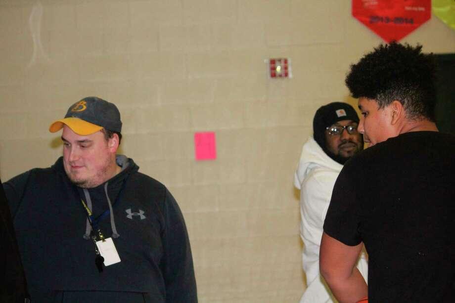 Baldwin JV coach Zach Englehart (left) gets ready for a practice on Monday. (Star photo/John Raffel)