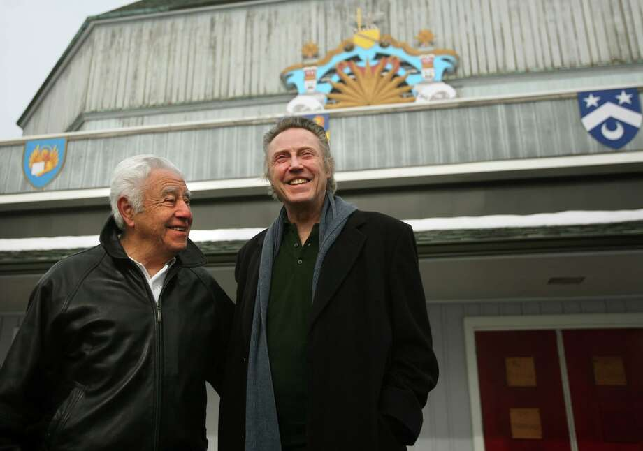 Master carpenter Joe Patria, left of Stratford, set builder at the American Shakespeare Theatre, greets actor Christopher Walken during a tour theater in Stratford on Sunday, February 17, 2013. Walken later gave a talk to benefit the Stratford Arts Commission and the Stratford Center for the Arts. Patria died on Jan. 28, 2020 at age 86. Photo: Brian A. Pounds / Brian A. Pounds / Connecticut Post