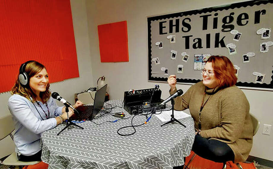 EHS English teachers and Tiger Talk supervisors Nicole Pontious, left, and Lauren Mudge laugh as they interview one another in the podcast club's studio, The Banter Box. Photo: Tyler Pletsch | The Intelligencer