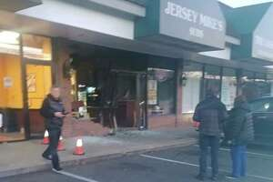 A car went into Jersey Mike's sandwich shop in Wilton early Thursday morning.