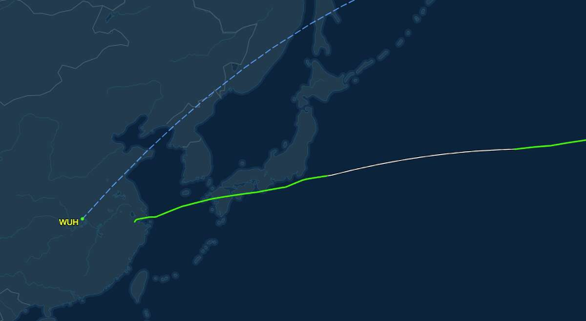 Note here that the flight does not originate nor stop in Wuhan. The dotted line represents to planned flight, but the green line approximates the actual flight
