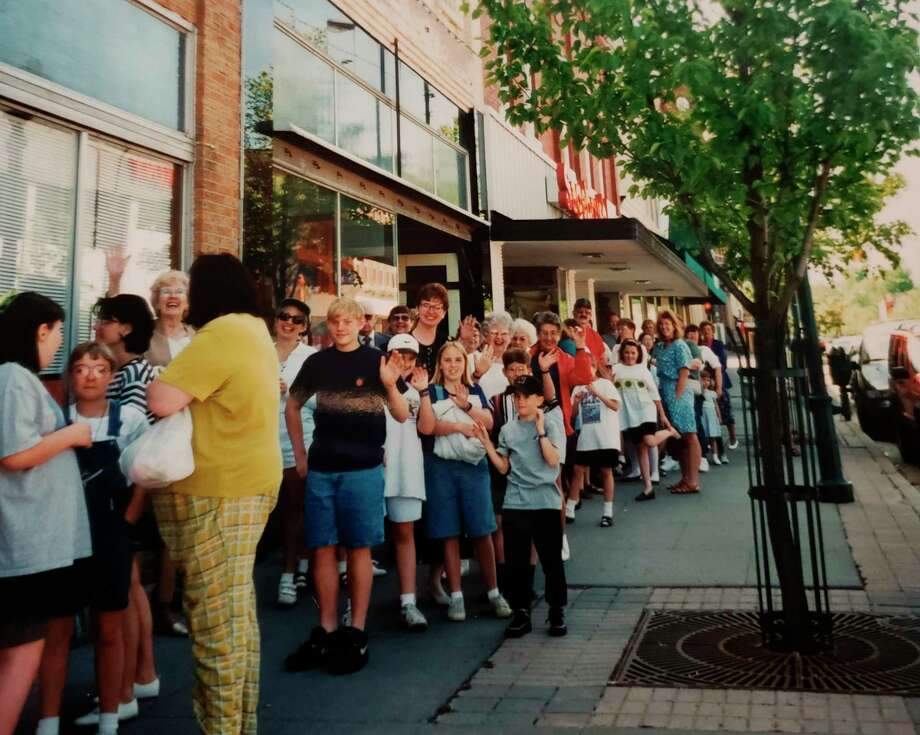 In this vintage photograph, a line outside the Old Pioneer Store and Emporium during the Beanie Babies craze of the late-1990s is pictured. (Courtesy photo)