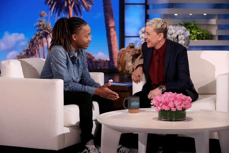 Ellen DeGeneres welcomes high school senior DeAndre Arnold from Mont Belvieu, Texas, who made national news after his school told him he couldn't walk at graduation unless he cuts his dreadlocks or wears them tied up in accordance with their dress code. Photo: Michael Rozman / Warner Bros.
