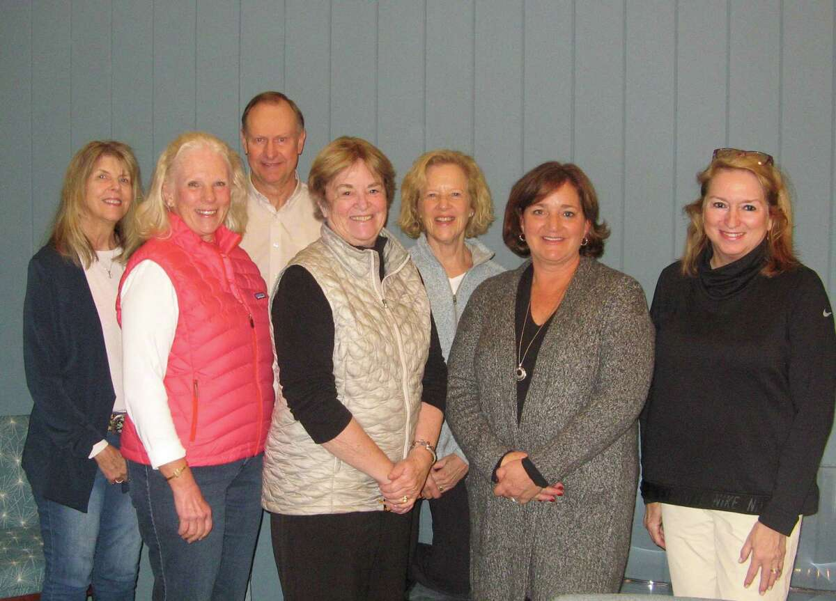 Members of Visiting Nurse & Hospice of Fairfield County's Benefit Committee are planning Pitch Perfect II to raise funds for the nonprofit agency's patients in need. From left are Janice Hess of Wilton, Janet Lebovitz of New Canaan, Ken Edgar of Weston, Judy Higby of Wilton, Phyllis Osterman of Stamford, Jeanne Robertson of Wilton and Jane Fox of New Canaan. Missing from the photo are Carol Bauer of New Canaan, Dawn Jeffrey of Norwalk, and Hal Shupack of Westport.
