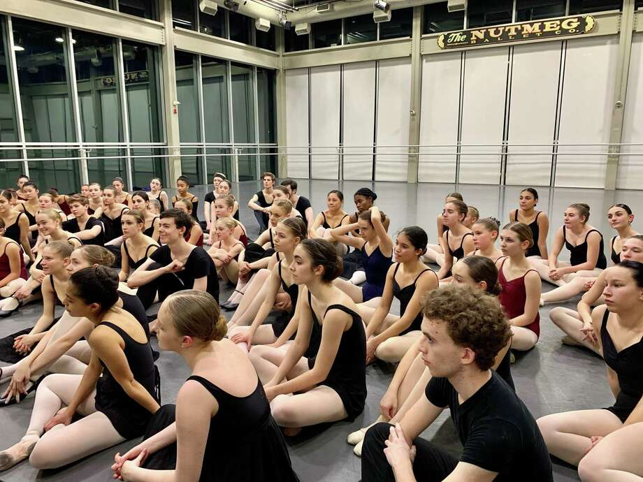 Applicants from a recent audition at the Nutmeg Conservatory listen to a lecture about the ballets Nutmeg will be performing in the 2020 Spring Studio Series. Photo: Nutmeg Conservatory / Contributed Photo /