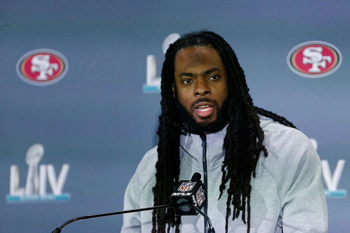FILE: Richard Sherman #25 of the San Francisco 49ers speaks to the media during the San Francisco 49ers media availability prior to Super Bowl LIV at the James L. Knight Center on January 29, 2020 in Miami, Florida. (Photo by Michael Reaves/Getty Images)
