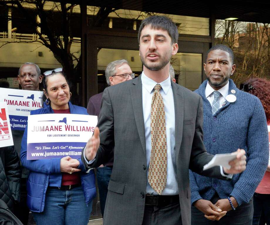 Albany County Legislator Sam Fein, center, introduces candidate for Lieutenant Governor, Jumaane Williams, right, during a campaign rally outside the NYS OGS Sheridan Steam Plant Friday April 13, 2018 in Albany, NY.  (John Carl D'Annibale/Times Union) Photo: John Carl D'Annibale, Albany Times Union / 20043496A