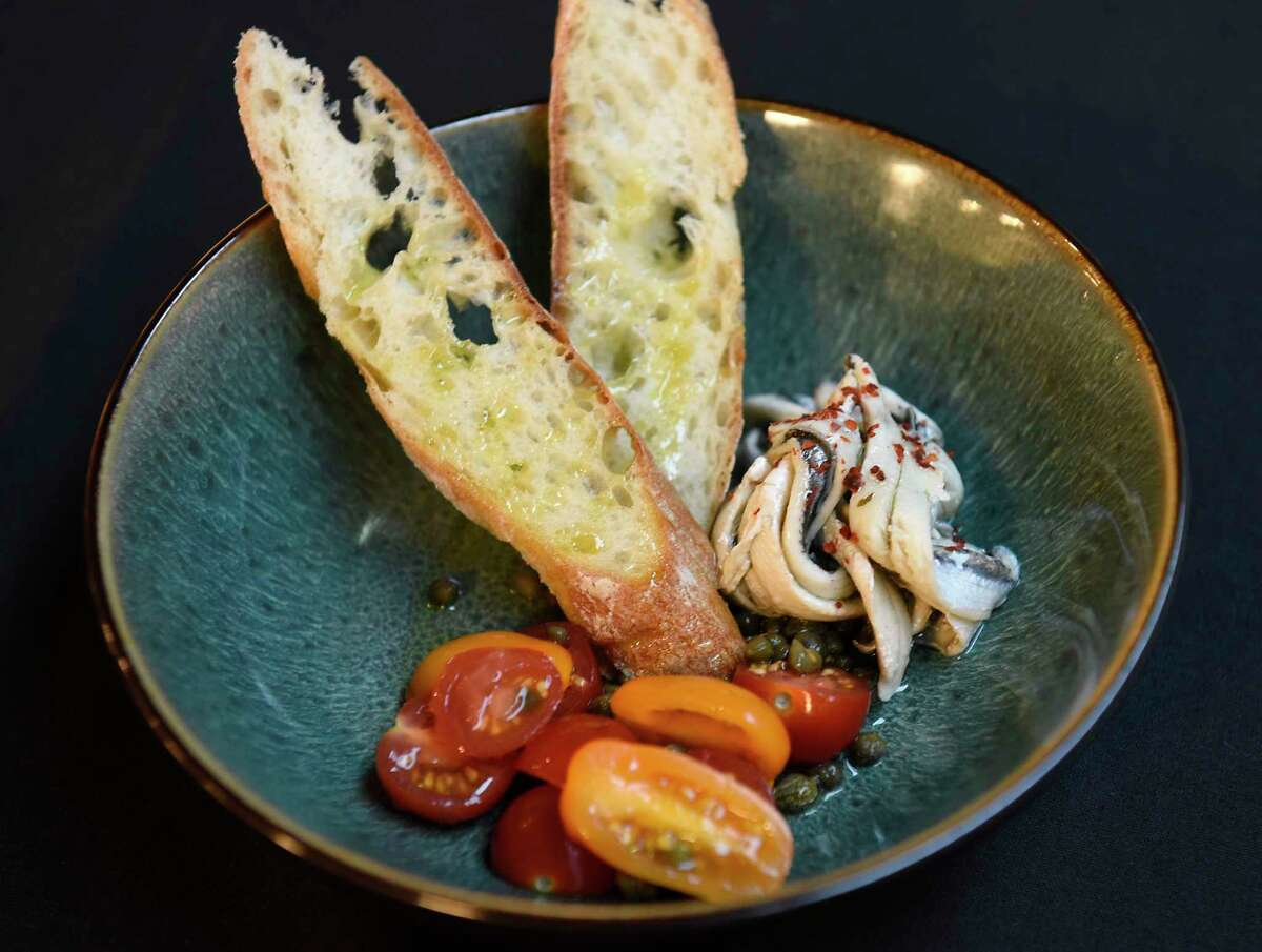 Boquerones, tomatoes and capers at Amuse on Broadway on Thursday, Jan. 16, 2020 in Saratoga Springs, N.Y. (Lori Van Buren/Times Union)