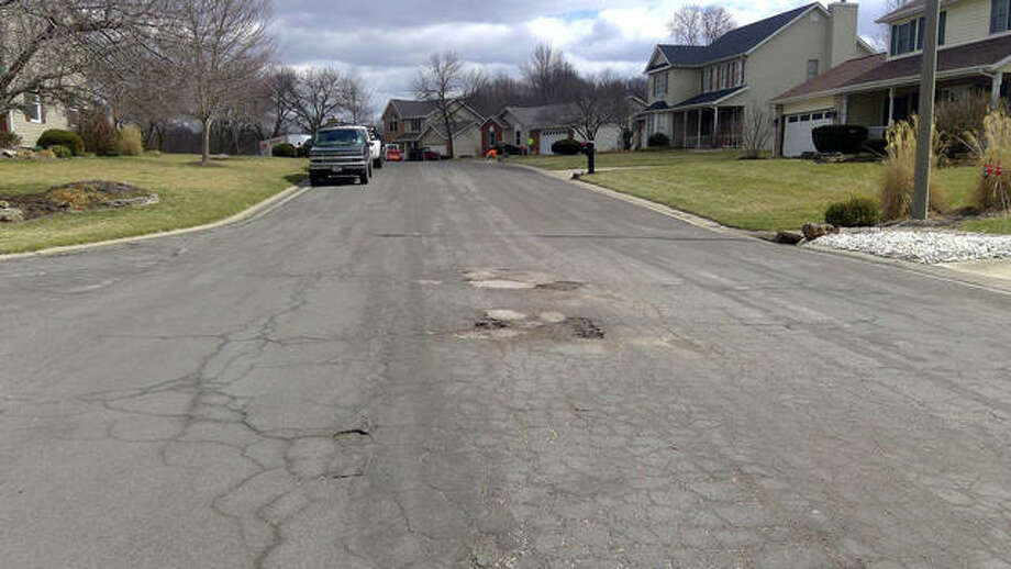 Autumn Glen Drive, just south of village hall, is one of the village's streets that were rated for their pavement condition. Glen Carbon has a $7.4 million bond issue on the March 17 ballot that if passed, will repair village streets. Photo: Hearst File Photo