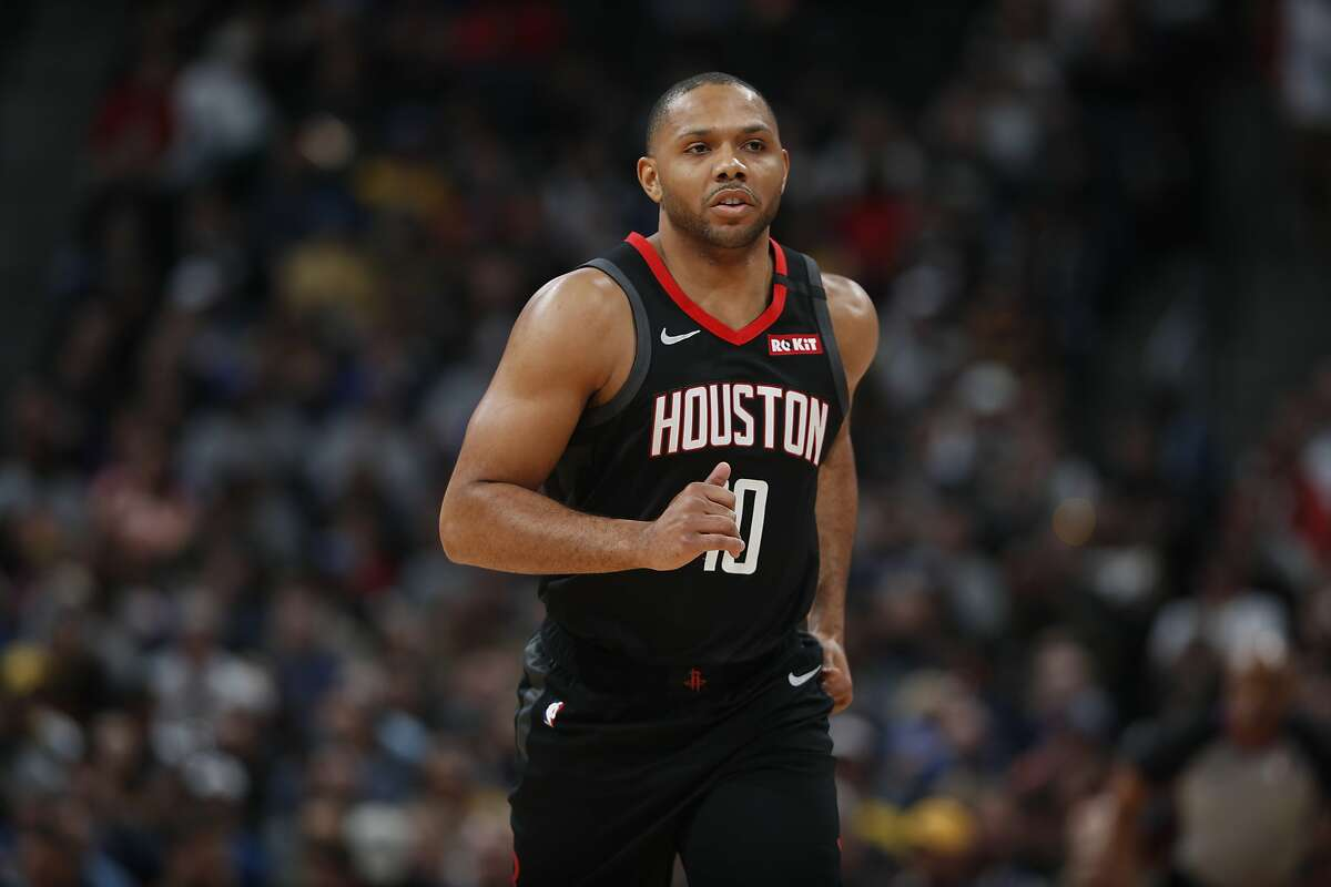 Houston Rockets guard Eric Gordon (10) in the first half of an NBA basketball game Sunday, Jan. 26, 2020, in Denver. SHORTER SEASON If all the seeding games get played, then this NBA season would include 1,059 games - a drop of 171 from what was planned when the season began. That means 14% of the season will not be played. And that's basically the reason why, for the first time in eight years, the 3-pointers made record will not be broken this season. When play was suspended on March 11, the league was on pace for 29,844 3-pointers, which would have been 1,889 more than the record of 27,955 set last season. It's now on pace for somewhere around 25,700 3-pointers - which would be just shy of the second-most in a season in NBA history.