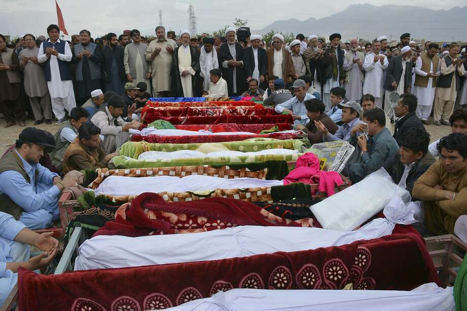 Relatives wait to bury the victims of a suicide bomber at a funeral in Quetta, Pakistan last year. Pakistan has gone from thousands of terrorist attacks annually to fewer than 250 last year. Photo: Arshad Butt / Associated Press 2019