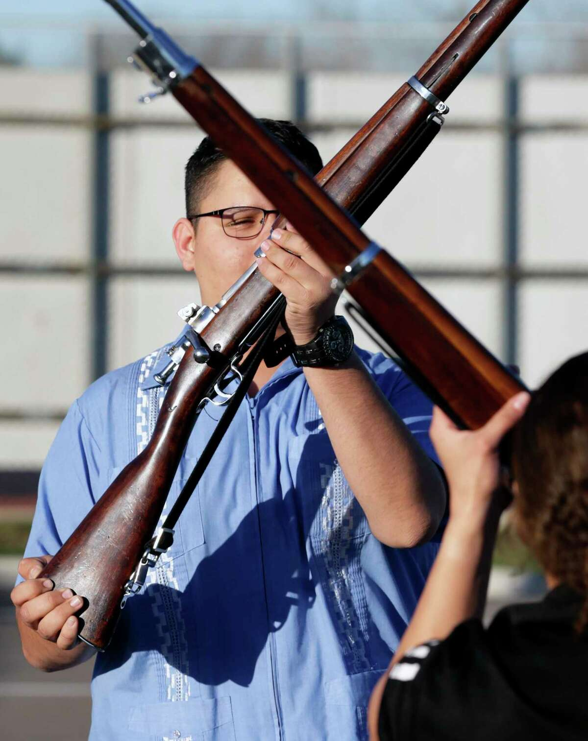 Alejandro Lopez manuevers his rifle this week as the East Central High School color guard practices for the Army JROTC National Drill Championship in March.