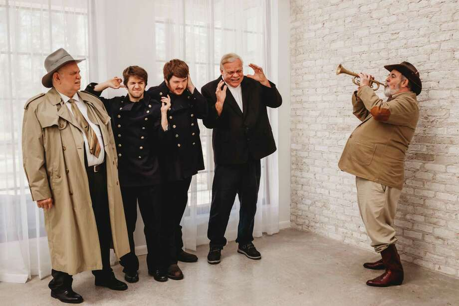 "From left, John Thompson as Mr. Gibbs and Lt. Rooney, Travis Cook as Officer O'Hara, Dalton Cook as Officer Brophy, Steve Murphree as Officer Klein and Dale Trimble as Teddy Brewster in The Players Theatre Company's ""Arsenic and Old Lace."" Photo: Photo By Kelley Harris With Dazzling Diva Photography"