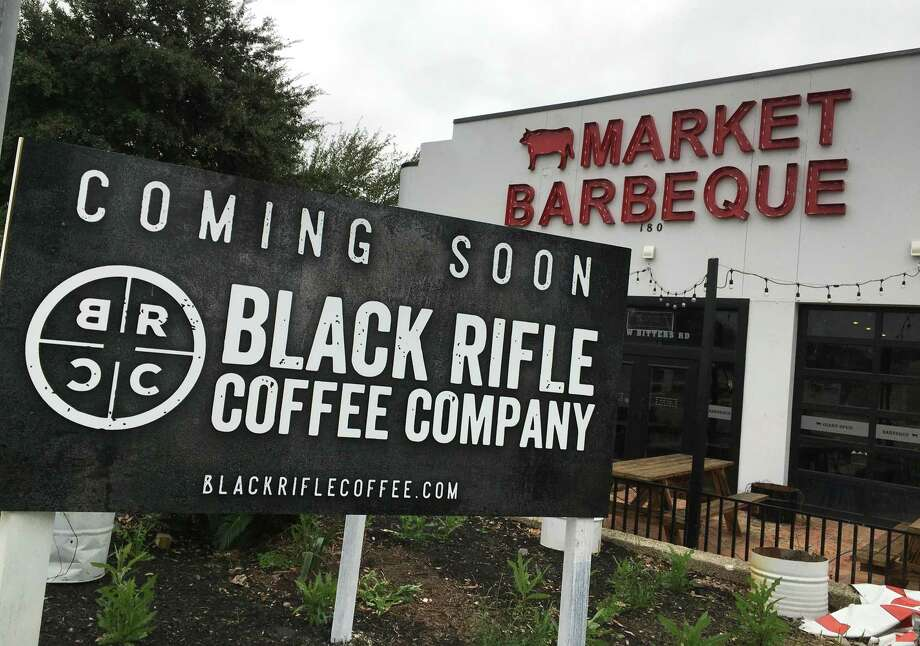 Coming soon signage for a Black Rifle Coffee Co. has been put up at 180 W. Bitters Road, near the intersection of U.S. 281. Photo: Chuck Blount /Staff