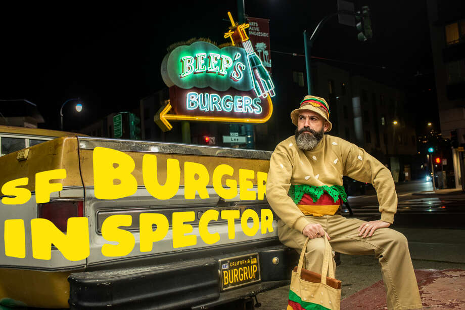 North Beach artist and avid burger eater Jeremy Fish is on a mission to celebrate San Francisco's rich burger culture by inspecting a different burger every other week, ranging from old school classics to new chef-driven creations. This week he inspects Beep's Burgers. Photo: Courtesy Of Jeremy Fish