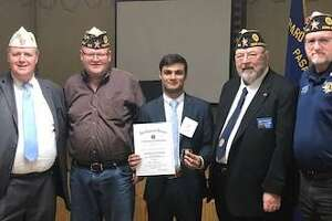 Rehan Rupawalla of Tompkins High School from American Legion Post 164 Katy won the 2nd Division Oratorical Contest held at American Legion Post 521 in Pasadena on Jan. 25. From left are 2nd Division Commander Bryan Douglas Coleman; 22nd District Commander Joseph Thomas; Rehan; 22nd District Vice Commander Harry Woodstrom, chair of the Oratorical Committee for Post 164; and Post 164 Commander Jim McGuire.