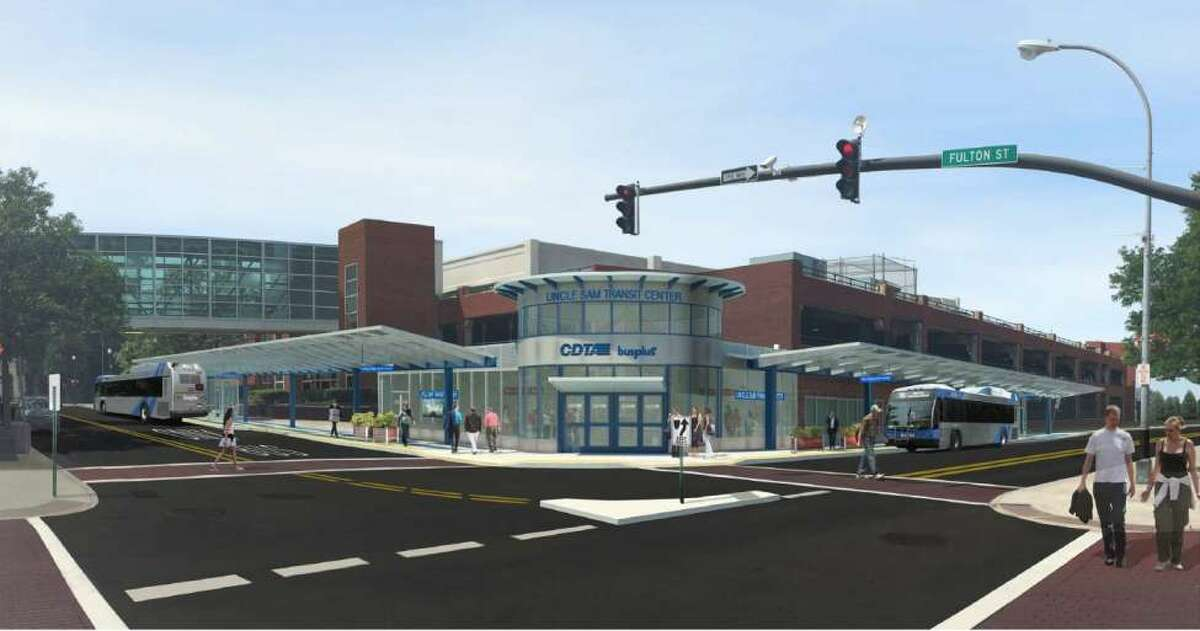 Rendering of the CDTA's proposed new transit hub in downtown Troy.