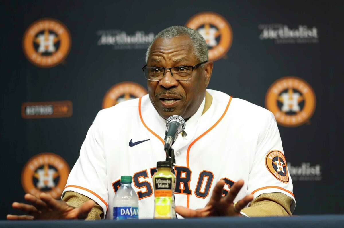 PHOTOS: Astros introduce new manager Dusty Baker Dusty Baker speaks to the media, after being introduced by owner Jim Crane, as the Houston Astros new manager at Minute Maid Park, in Houston, Thursday, Jan. 30, 2020. >>>See photos from the introductory press conference of the Astros' new manager ...