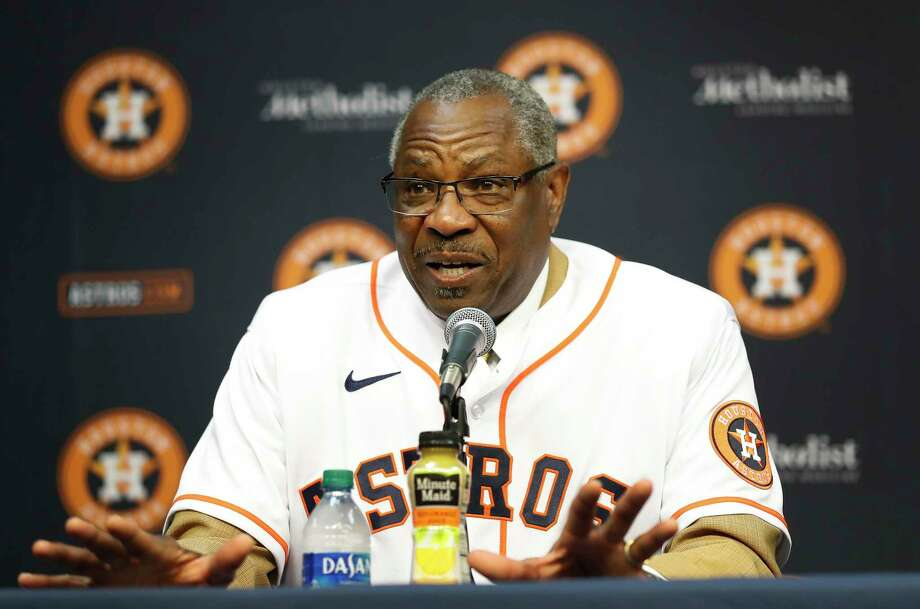 PHOTOS: Astros introduce new manager Dusty Baker  Dusty Baker speaks to the media, after being introduced by owner Jim Crane, as the Houston Astros new manager at Minute Maid Park, in Houston, Thursday, Jan. 30, 2020. >>>See photos from the introductory press conference of the Astros' new manager ...  Photo: Karen Warren, Staff Photographer / © 2020 Houston Chronicle