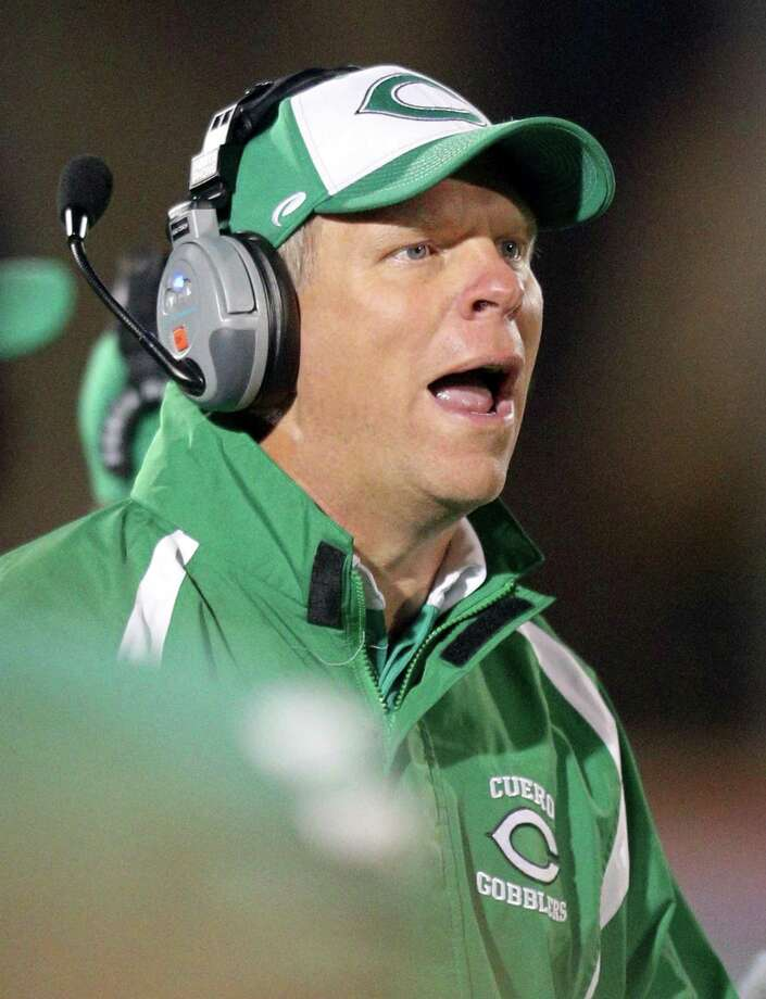 Cuero head coach Travis Reeve calls a play in first half action against Navarro during their Class 4A Division II state quarterfinals playoff game held Friday Dec. 2, 2016 at Alamo Stadium. Photo: Edward A. Ornelas, Staff / San Antonio Express-News / © 2016 San Antonio Express-News