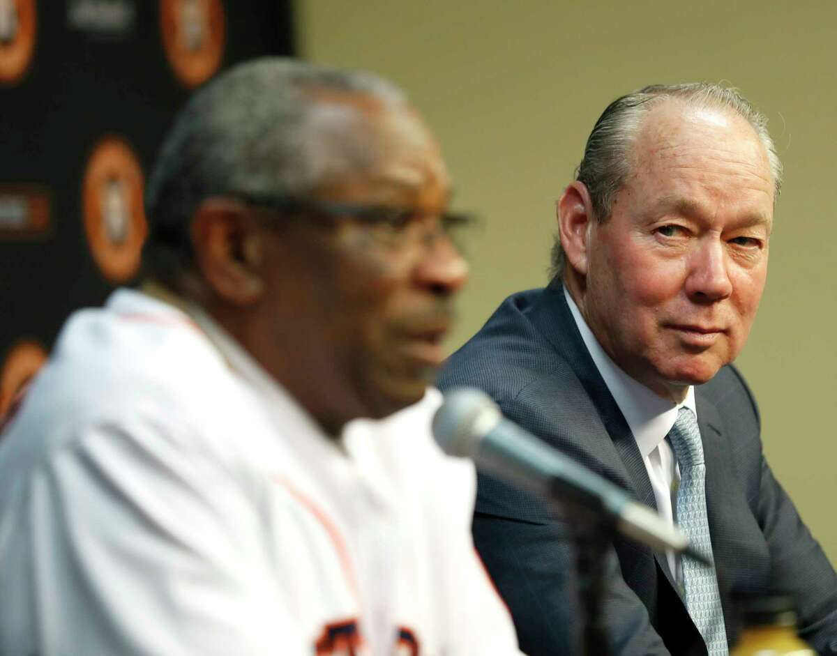 PHOTOS: Astros introduce new manager Dusty Baker  Houston Astros owner Jim Crane listens to Dusty Baker speak to the media as the Astros new manager at Minute Maid Park, in Houston, Thursday, Jan. 30, 2020. >>>Photos from the introductory news conference of new Astros manager Dusty Baker on Thursday ...