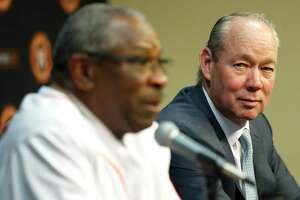Houston Astros owner Jim Crane listens to Dusty Baker speak to the media as the Astros new manager at Minute Maid Park, in Houston, Thursday, Jan. 30, 2020.