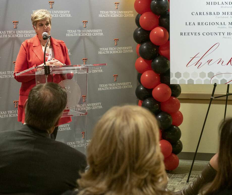 Dr. Lori Rice-Spearman, then provost and chief academic chair at Texas Tech University Health Sciences Center, speaks Jan. 30 during the announcement of a new partnership with Texas Tech University Health Sciences Center School of Medicine and Permian Strategic Partnership for a $5.9 million grant to place medical students in residency in rural community health care facilities. Photo: Tim Fischer/Midland Reporter-Telegram