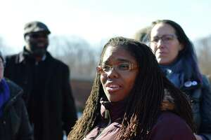 Carmen Parker, whose daughter was cast as a slave in a school assignment, speaking to the media Thursday.