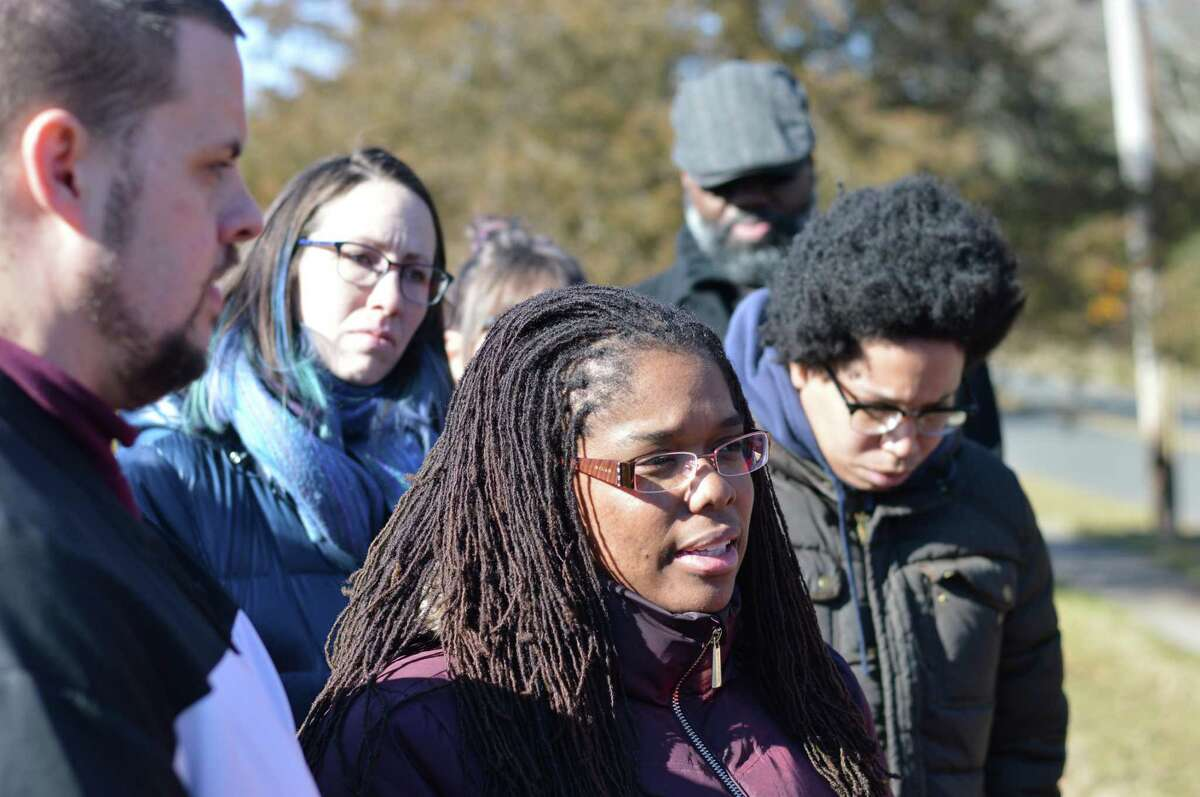 Carmen Parker, whose daughter was cast as a slave in a school assignment, speaking to the media last month.