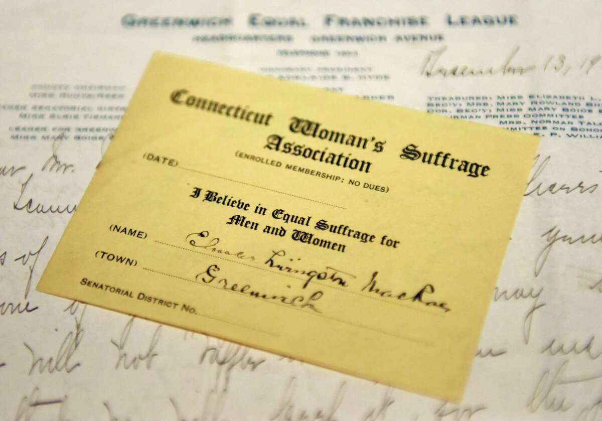 This Connecticut Women's Suffrage Association membership card is among the items that will be displayed in the upcoming exhibit