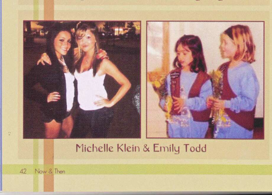 Emily Todd with childhood friend Michelle Klein in the Bethel High School 2011 yearbook. Photo: Julia Perkins / Hearst Connecticut Media / The News-Times
