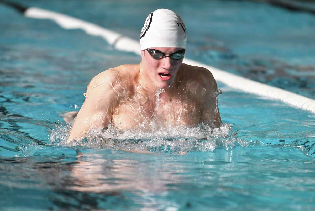 Marcus Hodgson of the Brunswick School swims the breaststroke portion of the 200 yd medley relay during a meet against Hopkins at The Brunswick School on Saturday February 3, 2018 in Greenwich, Connecticut.