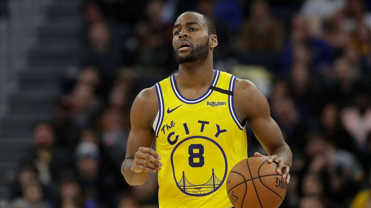 Golden State Warriors guard Alec Burks (8) against the Indiana Pacers during an NBA basketball game in San Francisco, Friday, Jan. 24, 2020. (AP Photo/Jeff Chiu)