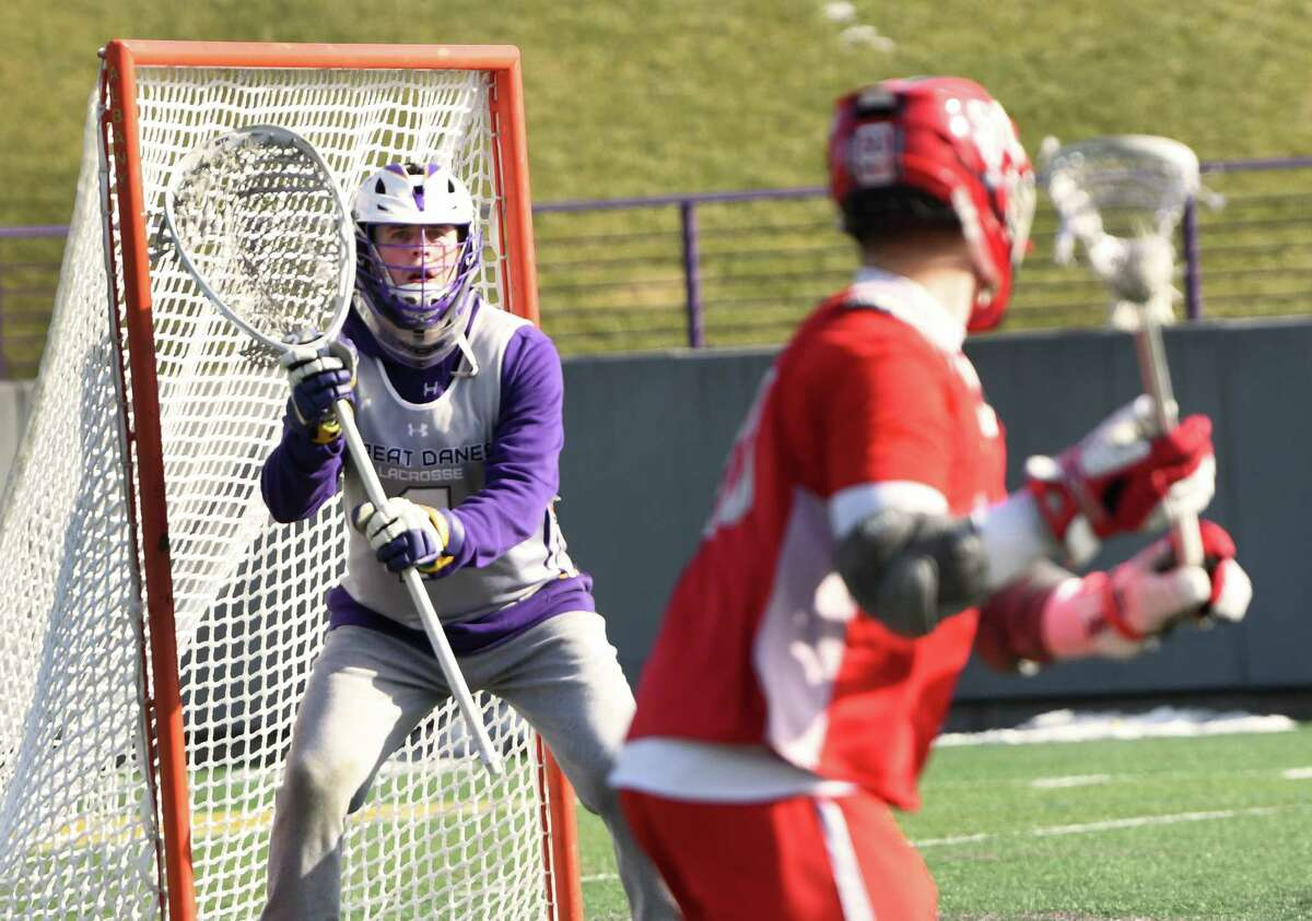 University at Albany goalie Nate Siekierski guards his net during a lacrosse scrimmage against goalie St. John's at Casey Stadium on Thursday, Jan. 30, 2020 in Albany, N.Y. (Lori Van Buren/Times Union)