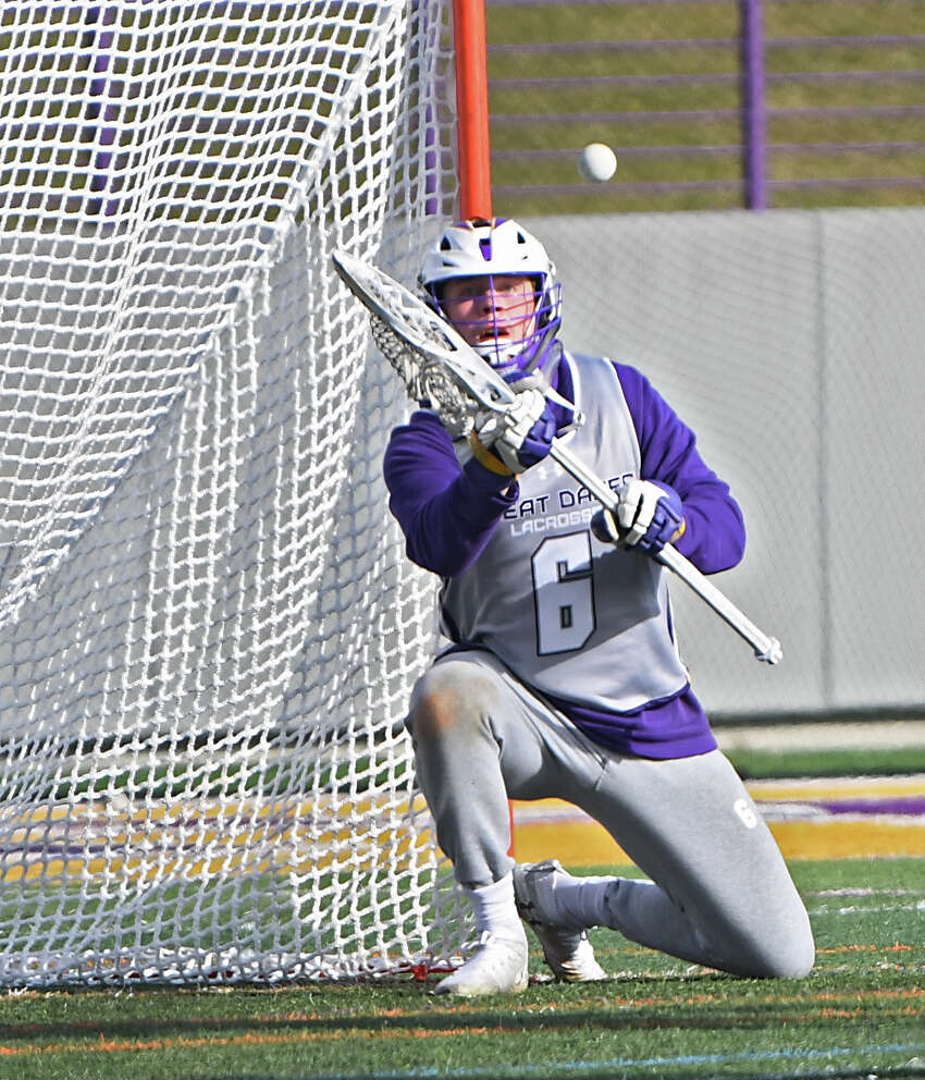 University at Albany goalie Nate Siekierski makes a save during a lacrosse scrimmage against goalie St. John's at Casey Stadium on Thursday, Jan. 30, 2020 in Albany, N.Y. (Lori Van Buren/Times Union)