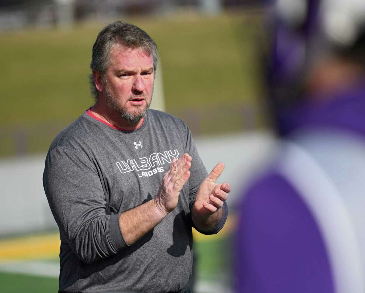 University at Albany lacrosse head coach Scott Marr is seen during a scrimmage with St. John's at Casey Stadium on Thursday, Jan. 30, 2020 in Albany, N.Y. (Lori Van Buren/Times Union)