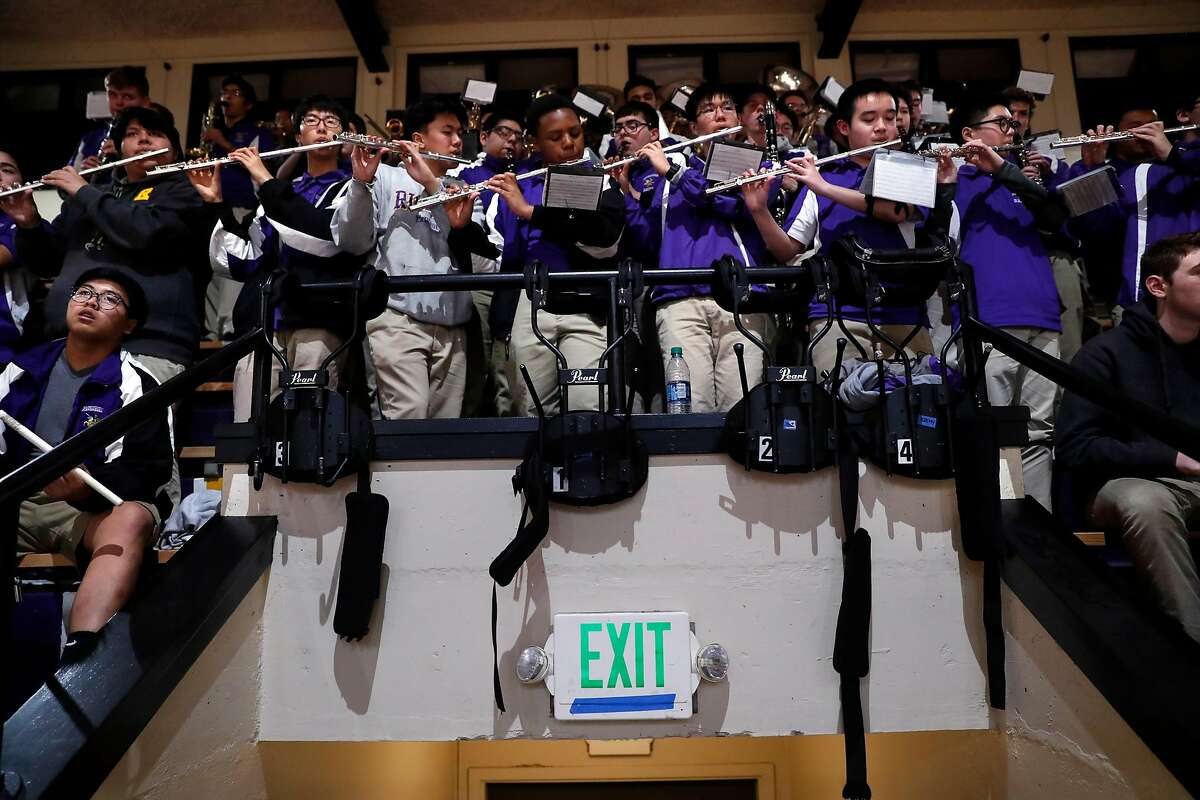 Archbishop Riordan High School band plays during the Crusaders' basketball game against St. Ignatius at the school gymnasium in San Francisco, Calif., on Tuesday, January 23, 2018.