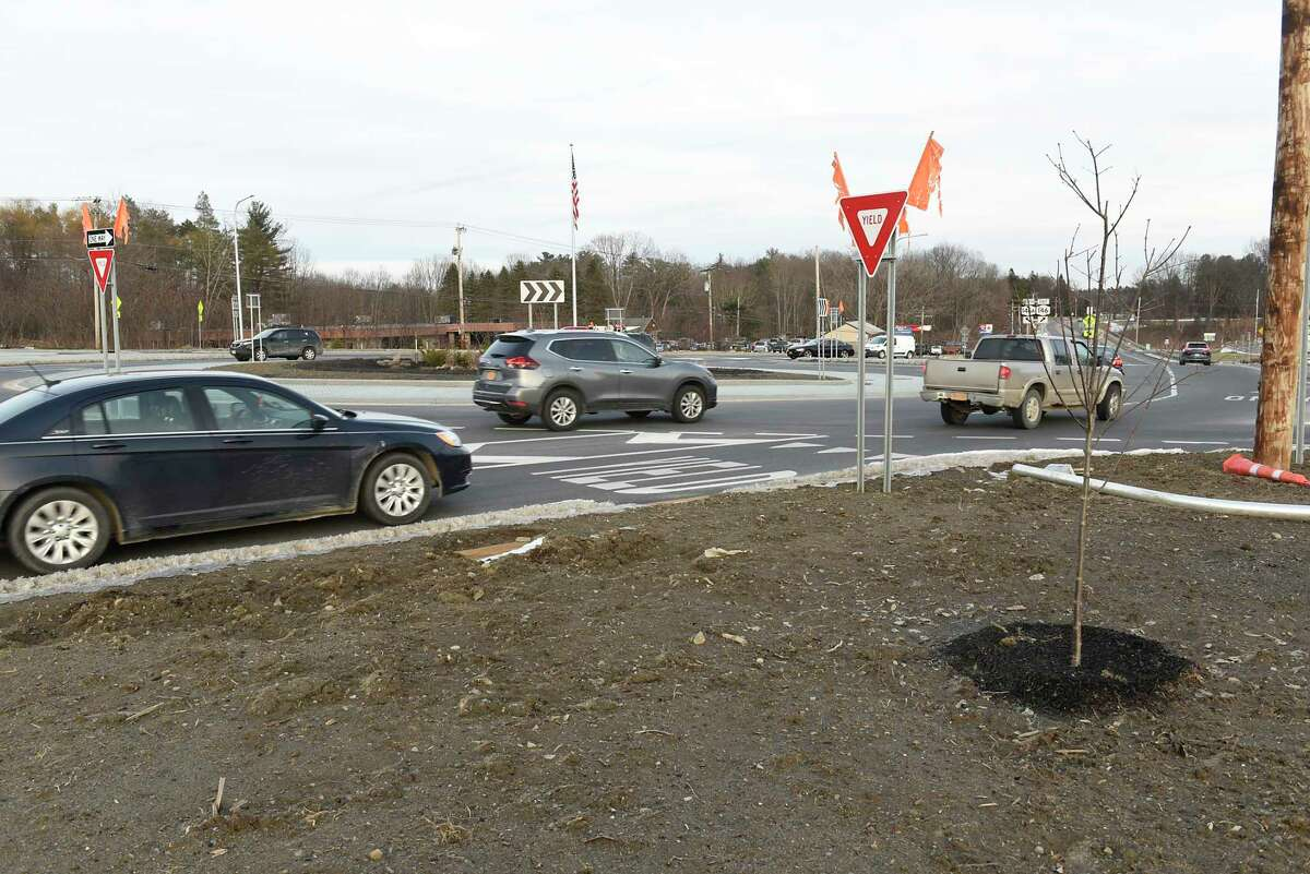 The new roundabout is now open at Route 146 and Vischer Ferry Road on Thursday, Jan. 30, 2020 in Clifton Park, N.Y. (Lori Van Buren/Times Union)