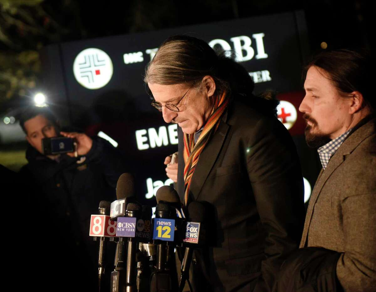 Fotis Dulos' attorney Norm Pattis, left, speaks beside attorney Kevin Smith in a press conference after Dulos' death at 5:32 p.m. at Jacobi Medical Center in Bronx, N.Y. Thursday, Jan. 30, 2020. Dulos was scheduled to appear in court for an emergency bond hearing on Tuesday when police found him unresponsive inside a running car at his Farmington home. After 30 minutes of CPR, a weak pulse was restored and he was sent to UConn Health in Farmington and later to Jacobi Medical Center in the Bronx for treatment in a hyperbaric oxygen therapy chamber to relieve carbon monoxide poisoning. Fotis Dulos was charged with murdering his estranged wife and mother-of-five, Jennifer Farber Dulos.