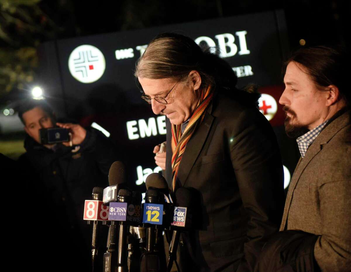 Fotis Dulos' attorney Norm Pattis, left, speaks beside attorney Kevin Smith in a press conference after Dulos' death at 5:32 p.m. at Jacobi Medical Center in Bronx, N.Y. Thursday. Dulos was scheduled to appear in court for an emergency bond hearing on Tuesday when police found him unresponsive inside a running car at his Farmington home. After 30 minutes of CPR, a weak pulse was restored and he was sent to UConn Health in Farmington and later to Jacobi Medical Center in the Bronx for treatment in a hyperbaric oxygen therapy chamber to relieve carbon monoxide poisoning. Fotis Dulos was charged with murdering his estranged wife and mother-of-five, Jennifer Farber Dulos.