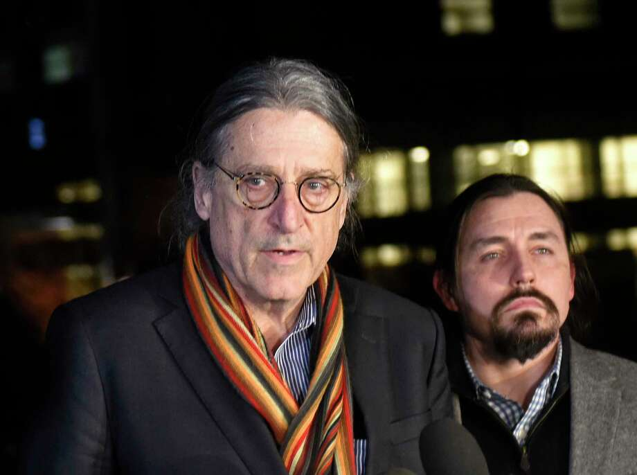 Fotis Dulos' attorney Norm Pattis, left, speaks beside attorney Kevin Smith outside a New York hospital where their client died on Jan. 30. Photo: Tyler Sizemore / Hearst Connecticut Media / Greenwich Time
